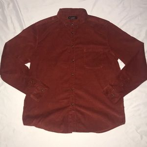 Mens Corduroy Button Up Shirt in Rust